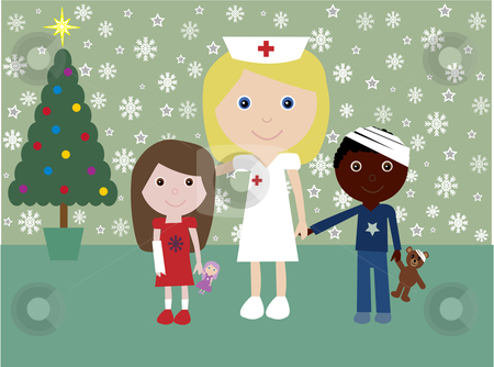 Christmas in hospital stock vector clipart, Vector illustration of a nurse and two injured children with a festive background by Rachel Gordon