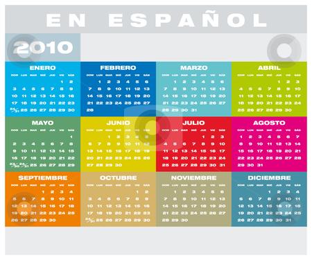 Calendar 2010 in Spanish stock vector clipart, Colorful Calendar for year 2010 in vector format, in Spanish by Germán Ariel Berra