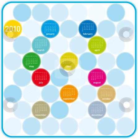 Colorful Calendar for 2010. stock vector clipart, Colorful Calendar for year 2010 in a circles theme. in vector format. by Germán Ariel Berra