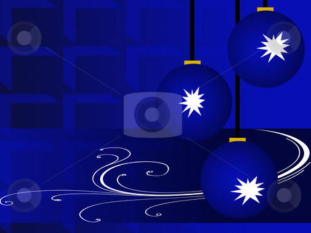 Blue christmas stock photo, Blue christmas backgorund with balls by Minka Ruskova-Stefanova