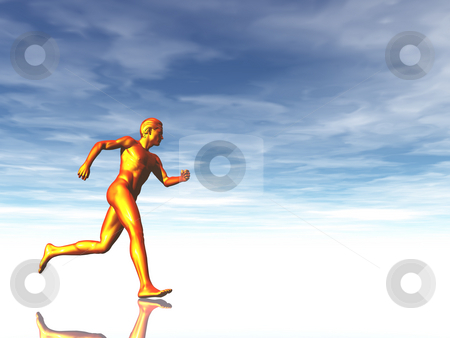 Runner stock photo, Sculpture man runs under cloudy blue sky - 3d illustration by J?