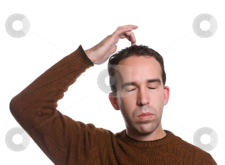 EFT Top of Head stock photo, A man wearing a sweater is doing the