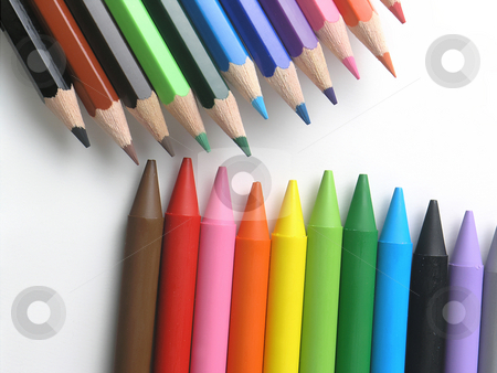 Artistic or children crayons stock photo, Colored crayons by Adam Radosavljevic