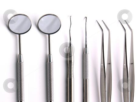 Dental Instruments stock photo, Close-up Dental Instruments on white background, metal, iron, steel, mirror by Adam Radosavljevic