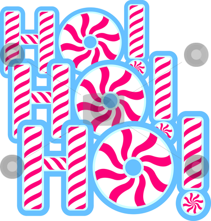 Ho Ho Ho stock vector clipart, The words Ho! Ho! Ho! in peppermint. by Jamie Slavy