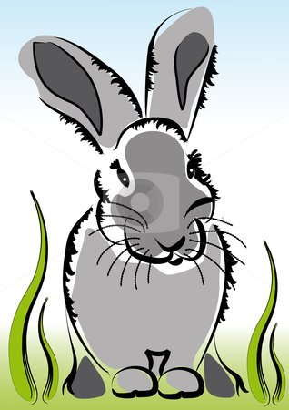 Little bunny in the grass stock vector clipart, Little cute grey bunny sitting in the grass by Karin Claus
