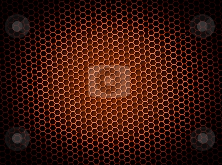 Honeycomb Background Red stock photo, Red honeycomb background 3d illustration or backdrop with light effect by Henrik Lehnerer