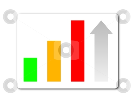 Statistic button stock photo, Green yellow red statistic button on white background by Henrik Lehnerer