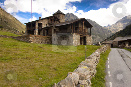 Stony house - Pyrenees stock photo, Big stony house in Pyrenees mountain - Andorra summer day, blue sky. by Tomasz Parys
