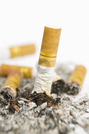 Turned off cigarette on ashtray stock photo, Turned off cigarette on white ashtray along with ashes by Rudyanto Wijaya