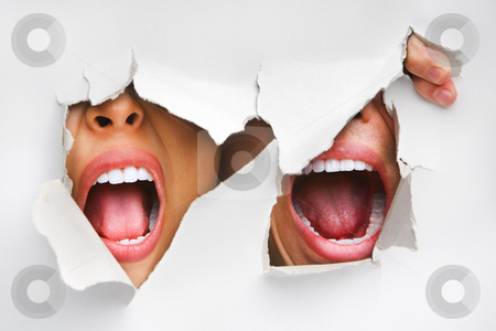 Two mouths screaming from hole in wall stock photo, Two mouths screaming from hole in wall by Rudyanto Wijaya