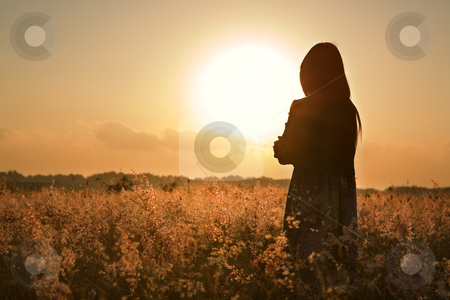 Woman silhouette waiting for summer sun stock photo, Woman silhouette waiting for summer sun on meadow by Rudyanto Wijaya