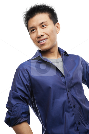 Asian young man stock photo, Portrait of Asian young man looking away by Rudyanto Wijaya