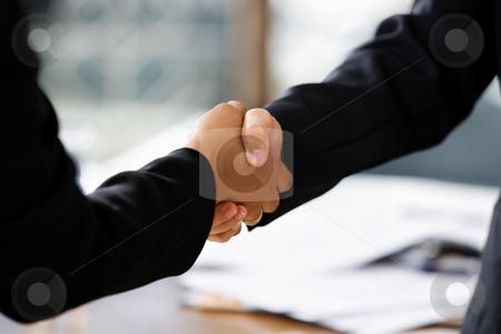 Handshake between two businesswomen stock photo, Close up image of handshake between two businesswomen. Different skin tones by Rudyanto Wijaya