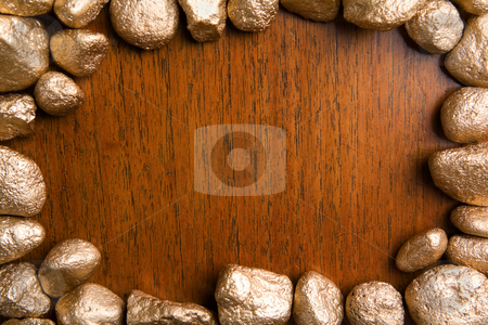 Wood framed by golden nuggets stock photo, Wood framed by golden nuggets can be used for background by Rudyanto Wijaya