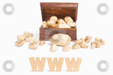 WWW bring wealth concept stock photo, WWW bring wealth concept using WWW characters block with treasure chest and golden nuggets by Rudyanto Wijaya