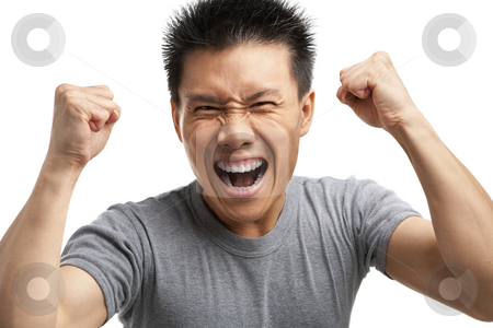 Asian man expressing his excitement stock photo, Portrait of Asian man expressing his excitement against white background by Rudyanto Wijaya