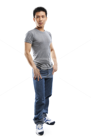 Full body pose of young fitness Asian man stock photo, Studio portrait of  young fitness Asian man full body by Rudyanto Wijaya