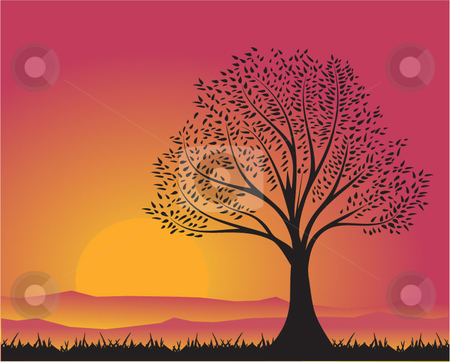 Shadow of Tree stock vector clipart, A warm sunset view of a tree. by Yong Foo Mun
