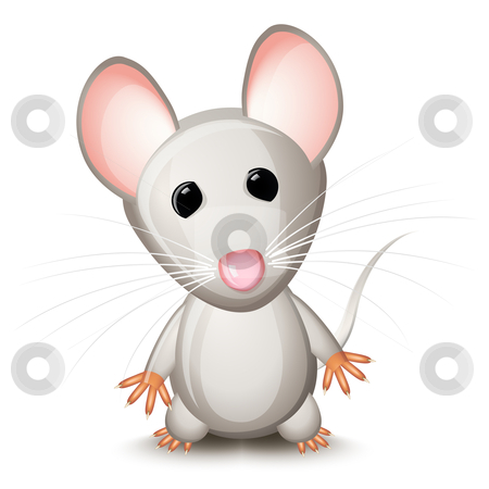 Little gray mouse stock vector clipart, Little gray mouse isolated on white background by Laurent Renault
