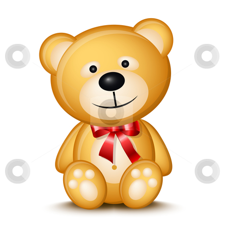 Teddy bear stock vector clipart, Little teddy bear isolated on white background by Laurent Renault