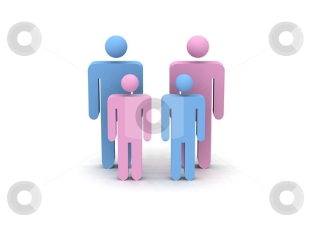 Family stock photo, Digital render of blue and pink figurines symbolizing a family by Oliver Klimek