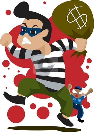 The criminal stock photo, Image of a robber who is running away from the security guard. by Verapol Chaiyapin