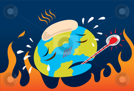 Global Warming And Pollution stock vector clipart, Illustration of the earth feel ill from global warming and pollution problem. by Verapol Chaiyapin