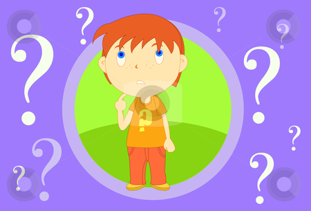 The question stock vector clipart, Image of a boy who is lost and full of doubt by Verapol Chaiyapin