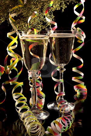 Wine for a celebration stock photo, Wine in glasses on a background of a branch of a juniper. by Sergey Goruppa