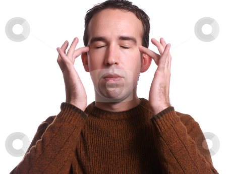 Casual Emotional Freedom Technique stock photo, Closeup view of a man using EFT tapping to help relieve various ailments by Richard Nelson