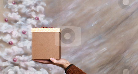 Christmas Present stock photo, A Christmas box present being held with ample copyspace on the right by Richard Nelson