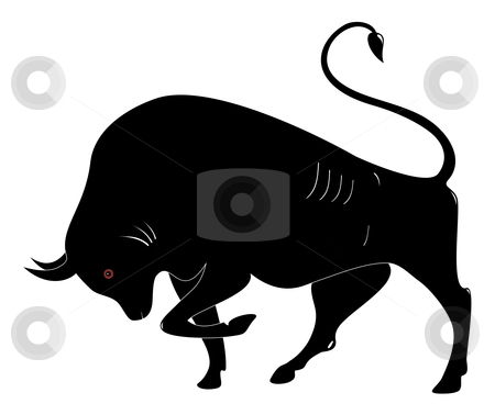 The Bull stock vector clipart, The black on a white background, a vector illustration by Alexander Karachkin