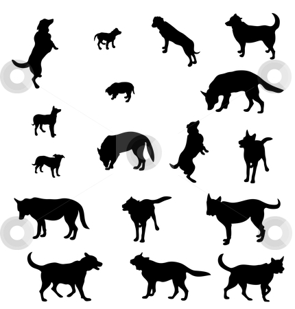 Contours of dogs stock vector clipart, Seventeen contours of dogs , adults and puppies. Black-and-white execution by Alexander Karachkin