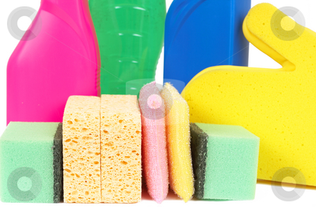 Variety of cleaning products stock photo, Variety of cleaning products such as sponges, gloves, and bottles with chemicals isolated on white background by Elena Weber (nee Talberg)