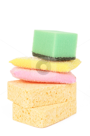 Stack of cleaning sponges stock photo, Stack of colorful cleaning sponges isolated on white background by Elena Weber (nee Talberg)