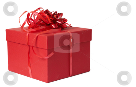 Red gift box with bow stock photo, Red gift box with bow isolated on white background with copy space by Elena Weber (nee Talberg)