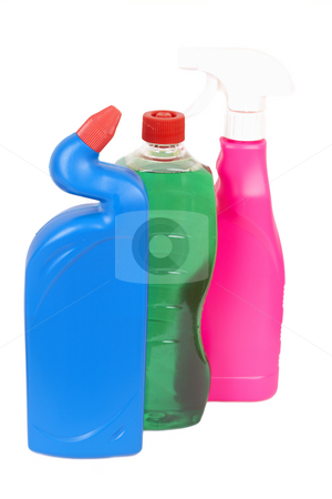 Variety of cleaning products stock photo, Variety of bottles with chemicals isolated on white background by Elena Weber (nee Talberg)