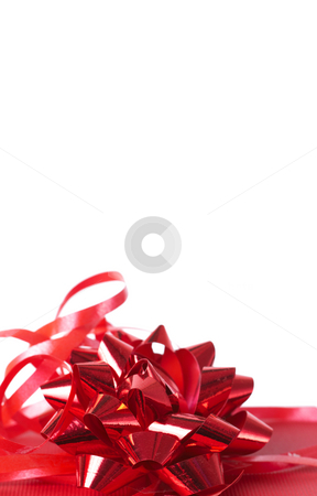 Red gift box with bows  stock photo, Red gift box with bows isolated on white background with lots of copy space by Elena Weber (nee Talberg)