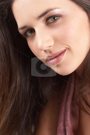 Portrait of beautiful brunette woman stock photo, Portrait of a beautiful young brunette woman with natural make-up and long hair by Elena Weber (nee Talberg)