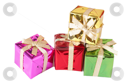 Stack of gift boxes on white stock photo, Stack of small colorful gift boxes isolated on white background with copy space by Elena Weber (nee Talberg)