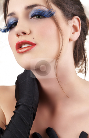 Portrait of beautiful brunette woman stock photo, Portrait of a beautiful young brunette woman  wearing black gloves with dramatic glamour make-up by Elena Weber (nee Talberg)