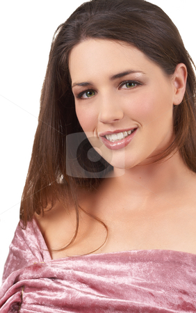 Portrait of beautiful brunette woman stock photo, Portrait of a beautiful young brunette woman with natural make-up on white background by Elena Weber (nee Talberg)