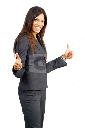 Beautiful successful brunette woman  stock photo, Beautiful successful brunette woman in pinstripe suit celebrating a deal. Isolated on white background with copy space by Elena Weber (nee Talberg)