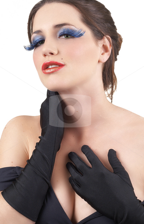 Portrait of beautiful brunette woman stock photo, Portrait of a beautiful young brunette woman with dramatic glamour make-up and black gloves by Elena Weber (nee Talberg)