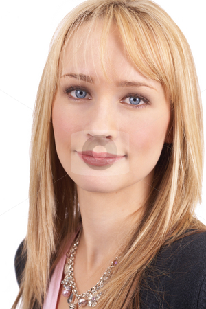 Portrait of beautiful blonde woman stock photo, Portrait of a beautiful blonde woman with light blue eyes and natural make-up isolated on white background by Elena Weber (nee Talberg)