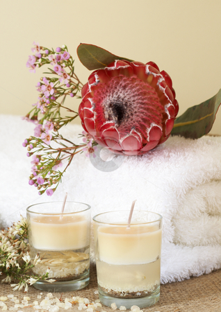 Relaxing spa scene stock photo, Relaxing spa scene with a white rolled up towel, pink flowers and protea, beautiful handmade candles and bath salts by Elena Weber (nee Talberg)
