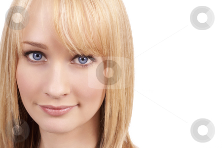 Portrait of beautiful blonde woman stock photo, Portrait of a beautiful blonde woman with light blue eyes and natural make-up by Elena Weber (nee Talberg)
