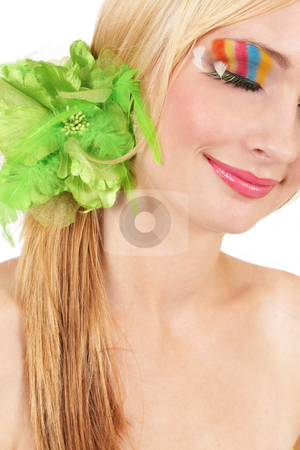 Portrait of beautiful blonde woman stock photo, Portrait of a beautiful blonde woman with fashionable colorful make-up isolated on white background by Elena Weber (nee Talberg)