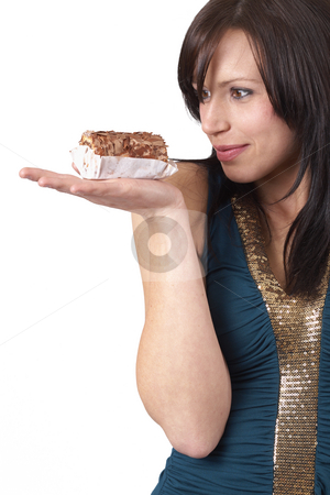 Portrait of beautiful brunette woman stock photo, Portrait of a beautiful young brunette woman tempted to eat a chocolate cake, isolated on white background by Elena Weber (nee Talberg)